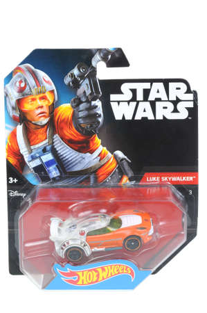 Luke: Adelaide, Australia - April 06, 2016:An isolated shot of an unopened Luke Skywalker Hot Wheels Diecast Toy Car from the Star Wars universe.Merchandise from the Star Wars movies are highy sought after collectables.