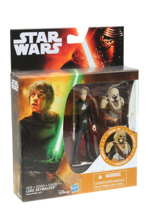 Luke: Adelaide, Australia - April 06, 2016:An isolated shot of an unopened 2015 Luke Skywalker action figure from the Star Wars The Force Awakens movie.Merchandise from the Star Wars movies are highy sought after collectables.