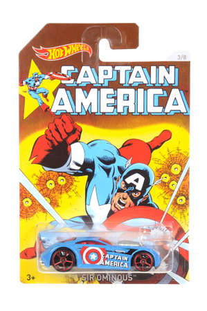 sought: Adelaide, Australia - April 05, 2016:An isolated shot of an unopened Captain America Hot Wheels Diecast Toy Car from the Marvel Comics universe.Merchandise from the Marvel Comics movies are highy sought after collectables.