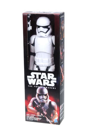 stormtrooper: Adelaide, Australia - April 05, 2016:An isolated shot of an unopened 2015 First Order Stormtrooper action figure from the Star Wars The Force Awakens movie.Merchandise from the Star Wars movies are highy sought after collectables. Editorial