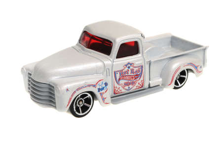 chevy: Adelaide, Australia - April 13, 2016:An isolated shot of a 1952 Chevy Hot Wheels 2006 Diecast Toy Car. Hot Wheels cars made by Mattel are highly sought after collectables.