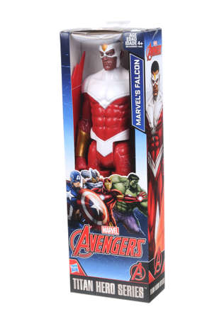 marvel: Adelaide, Australia - April 05, 2016:An isolated shot of an unopened Falcon action figure from the Marvel Comics Universe.Merchandise from the Marvel Universe are highy sought after collectables.