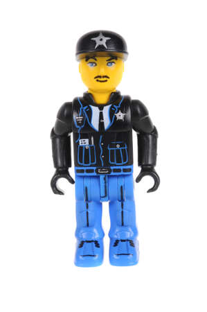 assembled: Adelaide, Australia - February 21, 2016: A studio shot of a Jack Stone Lego minifigure. Lego is extremely popular worldwide with children and collectors.