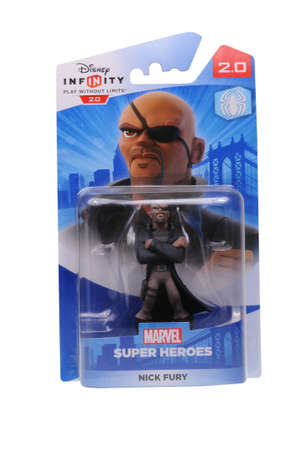 nick: Adelaide, Australia - February 23, 2016: A studio shot of a Nick Fury Figurine from the Marvel Comics universe. This figurine is part of the disney infinity 2.0 video game, where placing the figure on the interface allows players to control that character