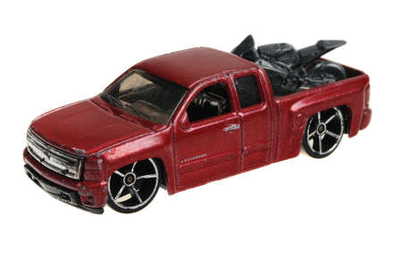 chevy: Adelaide, Australia - April 13, 2016:An isolated shot of a 2007 Chevy Silverado Hot Wheels Diecast Toy Car. Hot Wheels cars made by Mattel are highly sought after collectables.