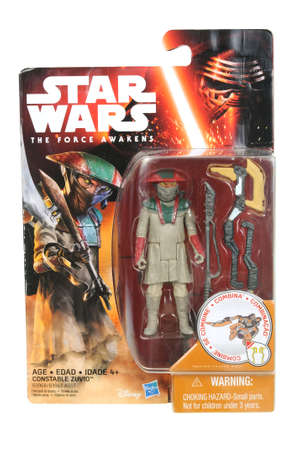 action figure: Adelaide, Australia - April 03, 2016:An isolated shot of an unopened 2015 Constable Zuvio action figure from the Star Wars The Force Awakens movie.Merchandise from the Star Wars movies are highy sought after collectables. Editorial