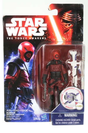 enforcer: Adelaide, Australia - April 01, 2016:An isolated shot of an unopened 2015 Guavian Enforcer action figure from the Star Wars The Force Awakens movie.Merchandise from the Star Wars movies are highy sought after collectables. Editorial