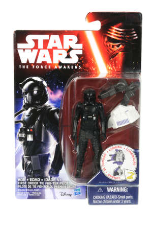 fighter pilot: Adelaide, Australia - April 01, 2016:An isolated shot of an unopened 2015 First Order Tie Fighter Pilot action figure from the Star Wars The Force Awakens movie.Merchandise from the Star Wars movies are highy sought after collectables.