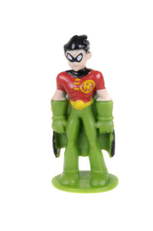 sought: Adelaide, Australia - February 18, 2016: A Robin action figure isolated on a white background from the DC comics universe. Merchandise from DC comics are highly sought after collectables. Editorial