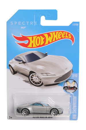 spectre: Adelaide, Australia - April 13, 2016:An isolated shot of an unopened Aston Martin Spectre 007 Hot Wheels Diecast Toy Car. Replica Vehicles made by Hot Wheels are highy sought after collectables. Editorial