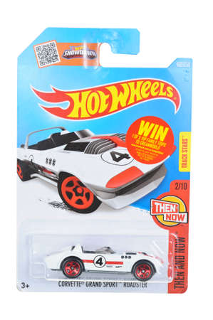 unopened: Adelaide, Australia - April 06, 2016:An isolated shot of an unopened Corvette Grand Sport Roadster Hot Wheels Diecast Toy Car. Replica Vehicles made by Hot Wheels are highy sought after collectables.
