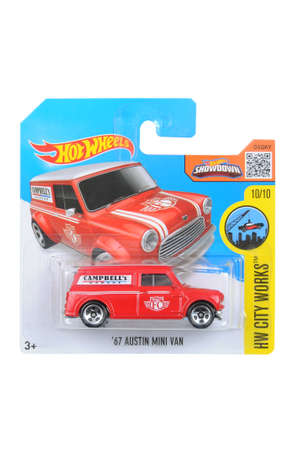sought: Adelaide, Australia - April 06, 2016:An isolated shot of an unopened 1967 Austin Mini Van Hot Wheels Diecast Toy Car. Replica Vehicles made by Hot Wheels are highy sought after collectables.