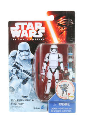 stormtrooper: Adelaide, Australia - March 16, 2016:An isolated shot of an unopened 2015 First Order Stormtrooper action figure from the Star Wars The Force Awakens movie.Merchandise from the Star Wars movies are highy sought after collectables.