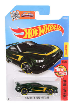 custom car: Adelaide, Australia - April 01, 2016:An isolated shot of an unopened Custom 2015 Ford Mustang Hot Wheels Diecast Toy Car. Replica Vehicles made by Hot Wheels are highy sought after collectables.