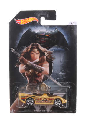comics car: Adelaide, Australia - March 11, 2016:An isolated shot of an unopened Wonder Woman Hot Wheels Diecast Toy Car from the DC Comics universe. Merchandise from DC Comics movies are highly sought after collectables.