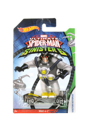 ultimate: Adelaide, Australia - March 21, 2016:An isolated shot of an unopened Ultimate Spiderman Doctor Octopus Hot Wheels Diecast Toy Car from the popular Marvel Character Spiderman. Merchandise from the Marvel universe are highy sought after collectables.