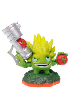 xbox: Adelaide, Australia - February 23, 2016: Skylanders Trap Team game character Food Fight. When a Skylander figurine is placed on the Portal of Power, that character will come to life in the game with their own unique abilities and powers. The skylanders tr