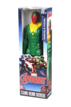 marvel: Adelaide, Australia - April 05, 2016:An isolated shot of an unopened Marvels Vision action figure from the Marvel Comics Universe.Merchandise from the Marvel Universe are highy sought after collectables. Editorial
