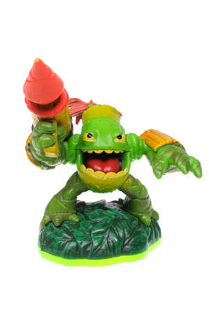 xbox: Adelaide, Australia - February 23, 2016: Skylanders game character Zook. When a Skylander figurine is placed on the Portal of Power, that character will come to life in the game with their own unique abilities and powers. The skylanders game is available  Editorial