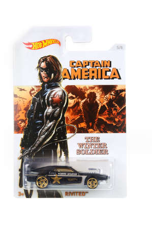 unopened: Adelaide, Australia - March 21, 2016:An isolated shot of an unopened Captain America The Winter Soldier Hot Wheels Diecast Toy Car from the Marvel Universe. Merchandise from the Marvel universe are highy sought after collectables.