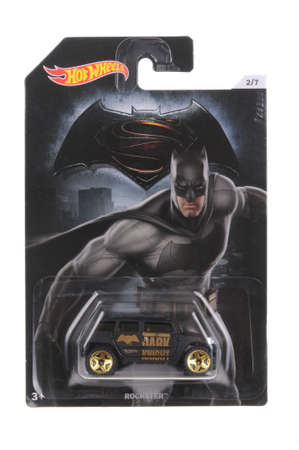 batman: Adelaide, Australia - March 11, 2016:An isolated shot of an unopened Batman Hot Wheels Diecast Toy Car from the DC Comics universe. Merchandise from DC Comics movies are highly sought after collectables.