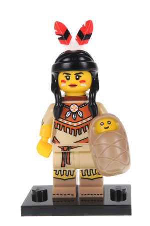 collectable: Adelaide, Australia - February 20, 2016:An isolated shot of a Tribal Woman Lego Minifigure from Series 15 of the collectable lego minifigure toys. Lego is very popular with children and collectors worldwide.