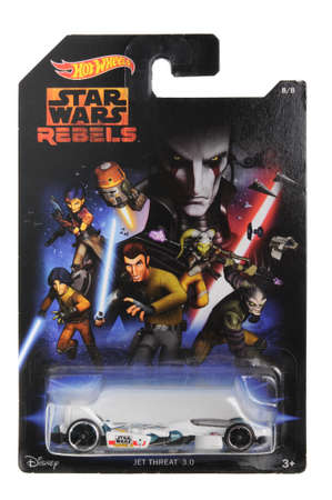 rebels: Adelaide, Australia - April 13, 2016:An isolated shot of an unopened Star Wars Rebels Jet Threat Hot Wheels Diecast Toy Car from the Star Wars universe.Merchandise from the Star Wars movies are highy sought after collectables. Editorial