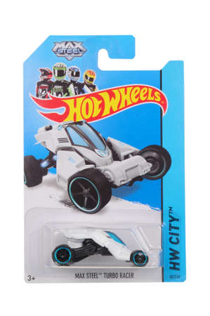 sought: Adelaide, Australia - March 27, 2016:An isolated shot of an unopened Max Steel Turbo Racer Hot Wheels Diecast Toy Car. Replica Vehicles made by Hot Wheels are highy sought after collectables.