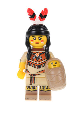 tribal woman: Adelaide, Australia - February 20, 2016:An isolated shot of a Tribal Woman Lego Minifigure from Series 15 of the collectable lego minifigure toys. Lego is very popular with children and collectors worldwide.