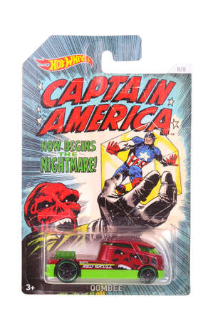 marvel: Adelaide, Australia - April 05, 2016:An isolated shot of an unopened Captain America Hot Wheels Diecast Toy Car from the Marvel Comics universe.Merchandise from the Marvel Comics movies are highy sought after collectables.