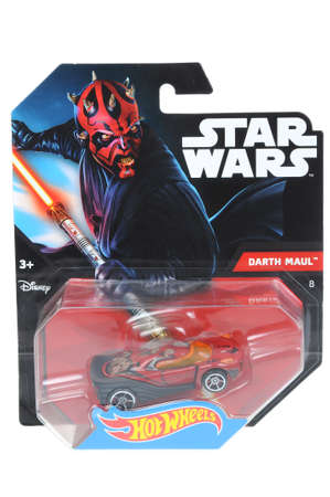 maul: Adelaide, Australia - April 06, 2016:An isolated shot of an unopened Darth Maul Hot Wheels Diecast Toy Car from the Star Wars universe.Merchandise from the Star Wars movies are highy sought after collectables. Editorial