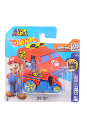 super hot: Adelaide, Australia - April 15, 2016:An isolated shot of an unopened Super Mario Hot Wheels Diecast Toy Car. Replica Vehicles made by Hot Wheels are highy sought after collectables.