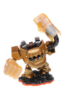 wii: Adelaide, Australia - February 23, 2016: Skylanders Trap Team game character Jawbreaker. When a Skylander figurine is placed on the Portal of Power, that character will come to life in the game with their own unique abilities and powers. The skylanders tr