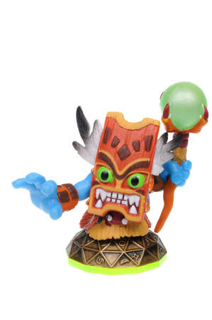xbox: Adelaide, Australia - February 23, 2016: Skylanders game character Double Trouble. When a Skylander figurine is placed on the Portal of Power, that character will come to life in the game with their own unique abilities and powers. The skylanders game is