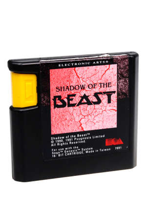 gamers: Adelaide, Australia - February 23 2016: A Studio shot of a Shadow Of The Beast Sega Genesis Game Cartridge. A popular video game from the 1990s is popular with collectors and retro gamers worldwide.