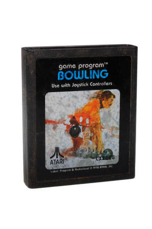 gamers: Adelaide, Australia - February 23 2016: A Studio shot of an Atari 2600 Bowling Game Cartridge. A popular video game from the 1980s is popular with collectors and retro gamers worldwide.