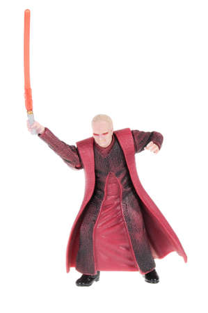 collectable: Adelaide, Australia - February 20, 2016: A studio shot of a Chancellor Palpatine action figure from the movie series Star Wars. Merchandise from the Star Wars universe are highly sought after collectables. Editorial