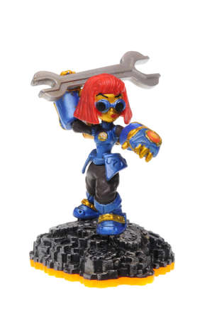 wii: Adelaide, Australia - February 23, 2016: Skylanders Giants game character Sprocket. When a Skylander figurine is placed on the Portal of Power, that character will come to life in the game with their own unique abilities and powers. The skylanders giants