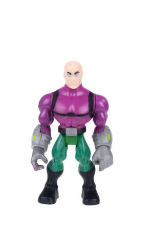 supervillian: Adelaide, Australia - December 20, 2015: A studio shot of a Lex Luthor figurine from the Superman DC Comics and Movies. Superman is extremely popular worldwide with children and collectors.