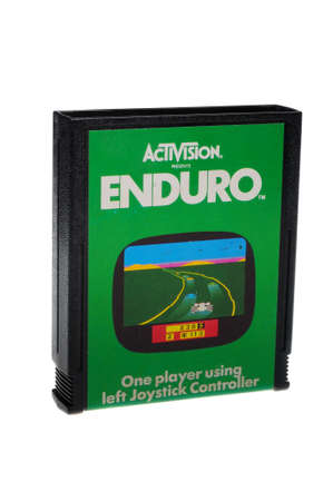 gamers: Adelaide, Australia - February 23 2016: A Studio shot of an Atari 2600 Enduro Game Cartridge. A popular video game from the 1980s is popular with collectors and retro gamers worldwide.