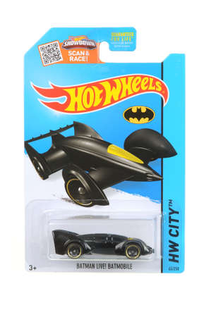 unopened: Adelaide, Australia - April 03, 2016:An isolated shot of an unopened Batmobile Hot Wheels Diecast Toy Car. Replica Vehicles made by Hot Wheels are highy sought after collectables.