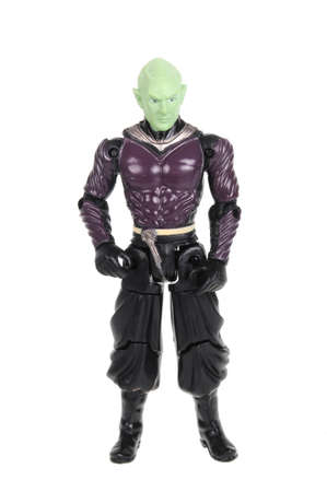 animated action: Adelaide, Australia - February 09 2016:A studio shot of a Lord Piccolo action figure from the popular Dragonball Z animated series. Merchandise from the popular animated series are highly sought after collectables.