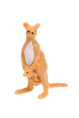 animal figurines: Adelaide, Australia - April 24, 2016: An isolated Kangaroo Kinder Egg Toy photo. Kinder Surprise eggs are a popular treat for children and the toys contained inside are highly sought after collectables.