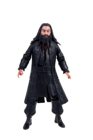 sought: Adelaide, Australia - November 22, 2015: A studio shot of a Blackbeard action figure from the Pirates of the Carribean movie series. Merchandise from movie and TV series are highy sought after collectables.