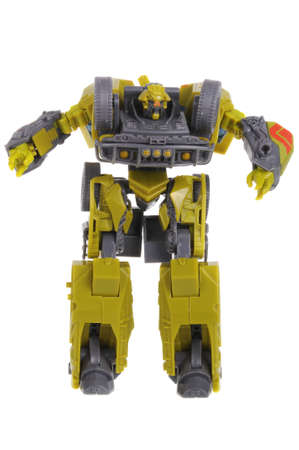 ratchet: Adelaide, Australia - February 24, 2016: A studio shot of a Ratchet Figurine from the Transformers. Transformers is a popular animated and movie series. Toys from the series are highly sought after collectables.