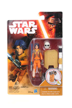 bridger: Adelaide, Australia - April 16, 2016:An isolated shot of an unopened Erza Bridger action figure from the Star Wars universe.Merchandise from the Star Wars movies are highy sought after collectables.