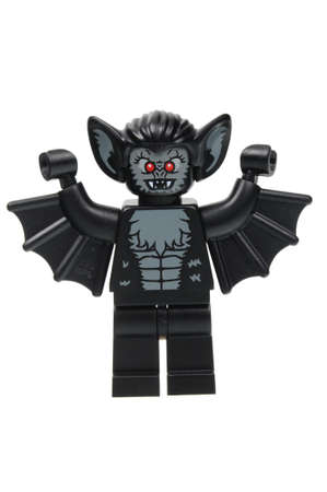 vampire bat: Adelaide, Australia - April 18 2016:A studio shot of a Vampire Bat Lego minifigure from Minifigure Series 8. Lego is extremely popular worldwide with children and collectors.