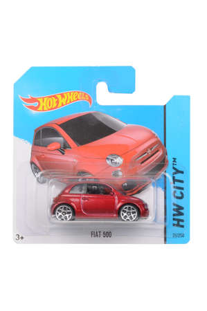 fiat: Adelaide, Australia - April 16, 2016:An isolated shot of an unopened Fiat 500 Hot Wheels Diecast Toy Car. Replica Vehicles made by Hot Wheels are highy sought after collectables. Editorial