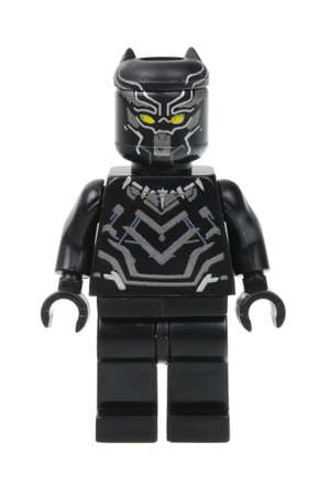 black panther: Adelaide, Australia - April 28, 2016:A studio shot of a Black Panther Lego Minifigure from the Marvel universe. This particular mini figure is based on the movie Captain America Civil War. Lego is extremely popular worldwide with children and collectors.