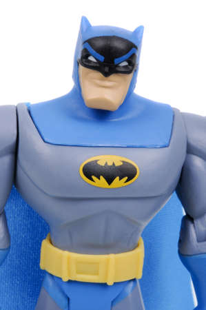 batman: Adelaide, Australia - March 15, 2016: An isolated image of a Dark Knight or Batman Action Figure. Batman is one of DC Comics most popular superheros, spawning many movies, TV series and collectables.